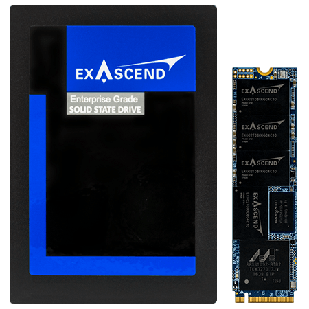 Photo displaying Exascend's PE3 series NVMe SSDs in the U.2 and M.2 form factors