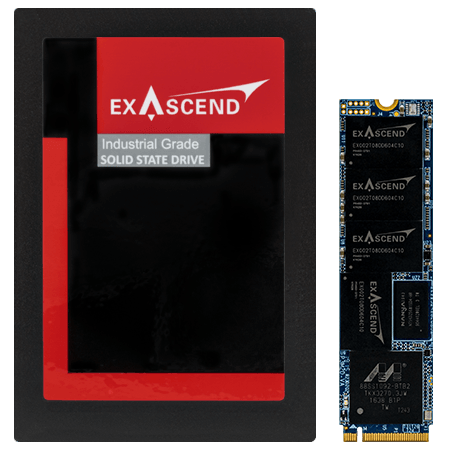 Photo displaying Exascend's PI3 series NVMe SSDs in the U.2 and M.2 form factors