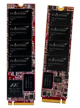 Photo displaying Exascend's PCIe Gen4 NVMe SSDs in the M.2 form factor
