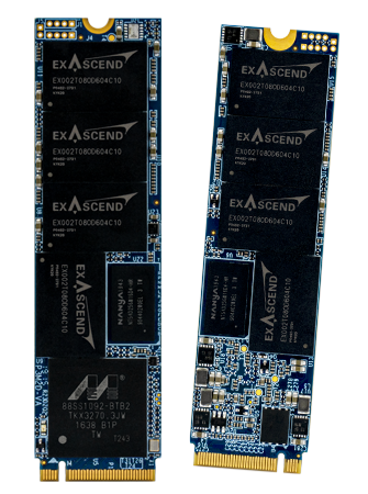 Photo displaying Exascend's PCIe Gen3 NVMe SSDs in the M.2 form factor