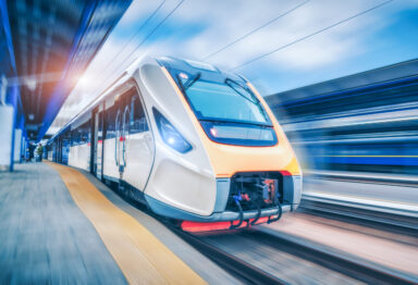 High-speed modern train that uses the latest transportation technologies