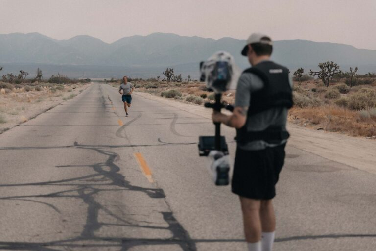 Cinematographer doing a shoot in a desert environment