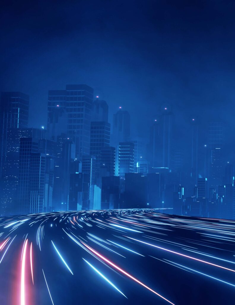 Edge computing illustrated by a smart city with heavy traffic