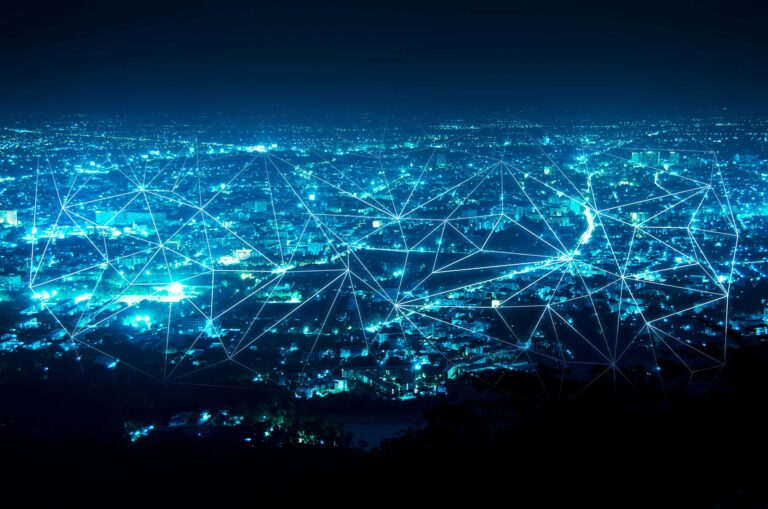 Night time scene of a smart city scene