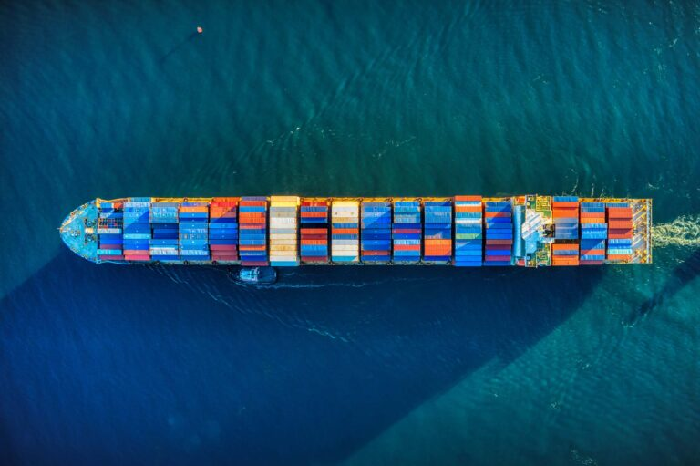Container ship part of the global logistics network