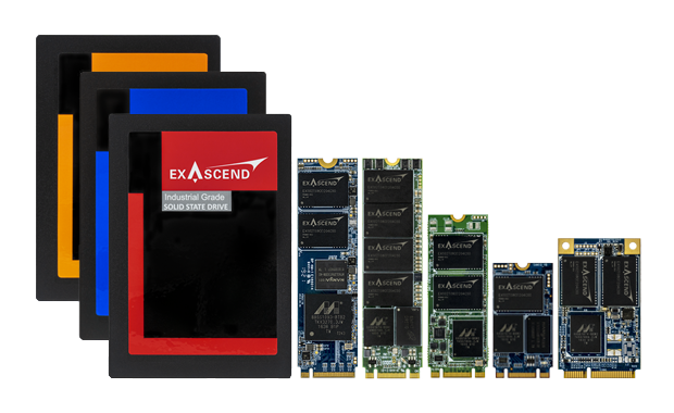 A selection of Exascend's SSD products