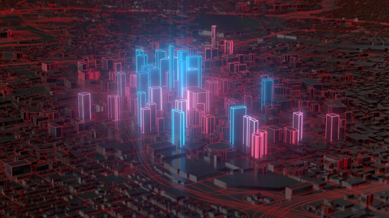 Smart city edge computing illustration with a digital style