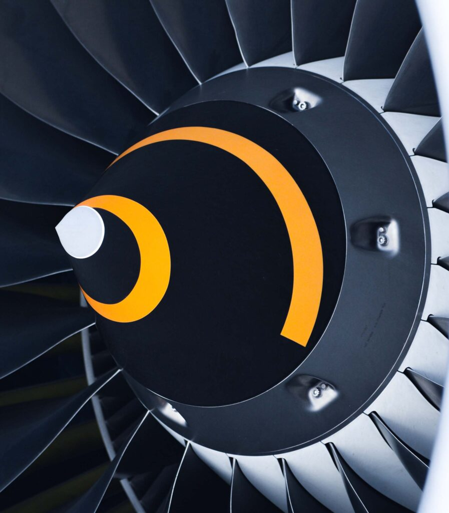 The blades of an aircraft's jet engine