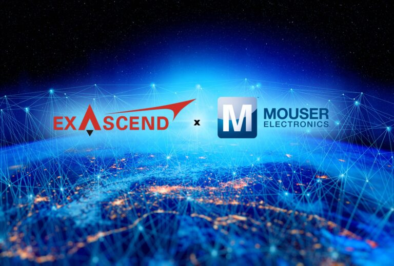 Exascend's partnership with Mouser Electronics illustrated with an interconnected globe.