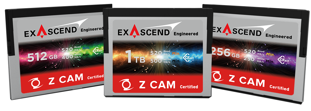 Exascend's Z CAM-certified CFast lineup