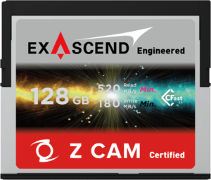 Exascend's 128 GB CFast card for Z CAM E2