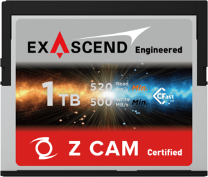 Exascend's 1 TB CFast card for Z CAM E2