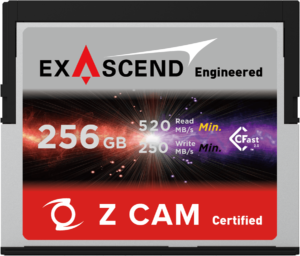 Exascend's 256 GB CFast card for Z CAM E2
