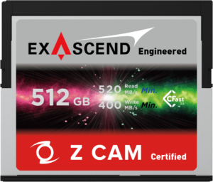 Exascend's 512 GB CFast card for Z CAM E2