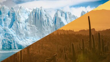 Image containing arid cold and arid hot landscapes