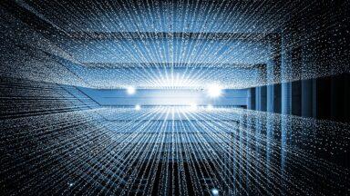 Abstract image illustrating beams of data