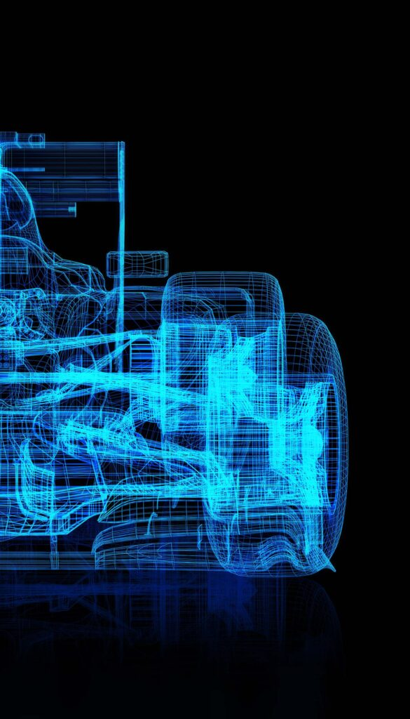 Image with a formula car in a wireframe format