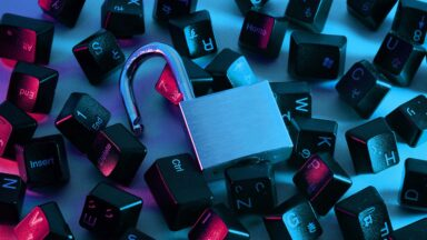 Image depicting a padlock surrounded by keys from a computer keyboard