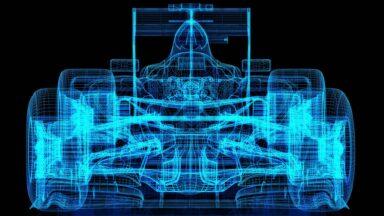 Wireframe of a Formula car