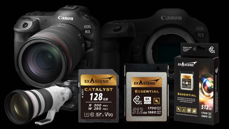 Image showing the brand new Canon EOS R3 alongside CFexpress and SD card storage options from Exascend