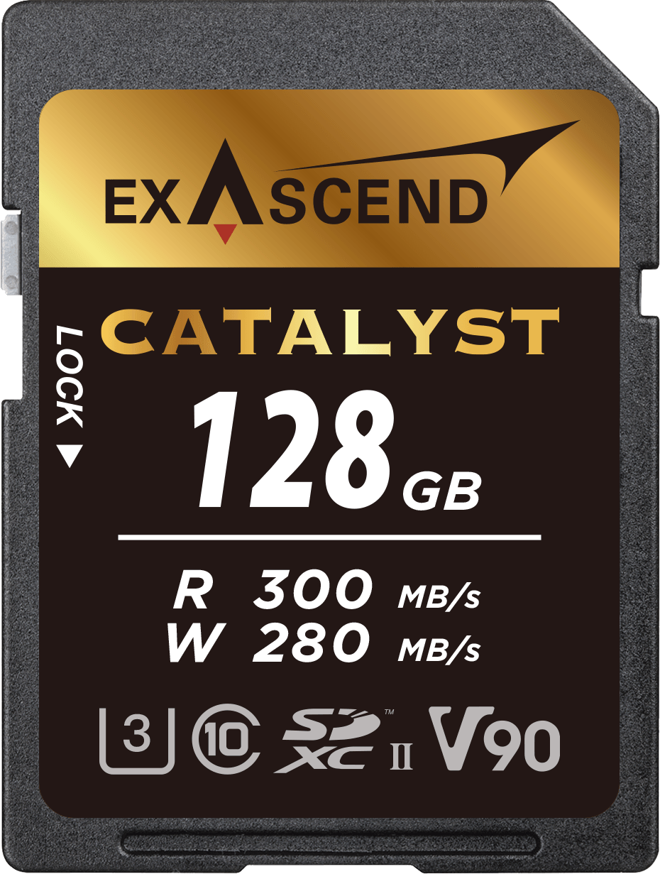 Image depicting Exascend's Catalyst SD card (UHS-II, V90) 128 GB.