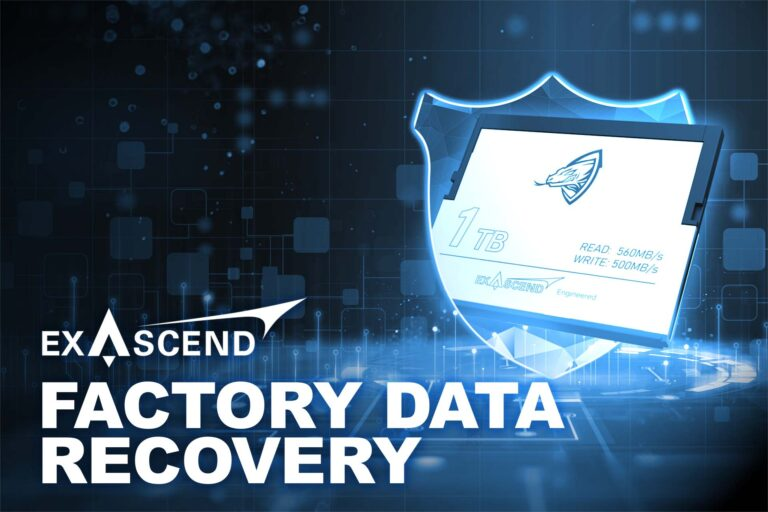 """Image displaying Exascend's Archon CFast card alongside the text """"Factory Data Recovery"""""""