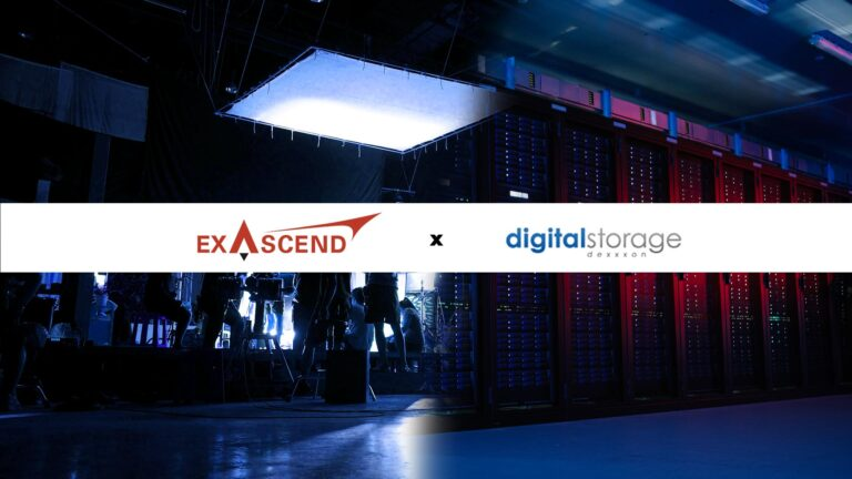 Image showcasing Exascend and Dexxxon Digital Storage's logo superimposed on a background made up by photos showcasing cinematography and enterprise applications.